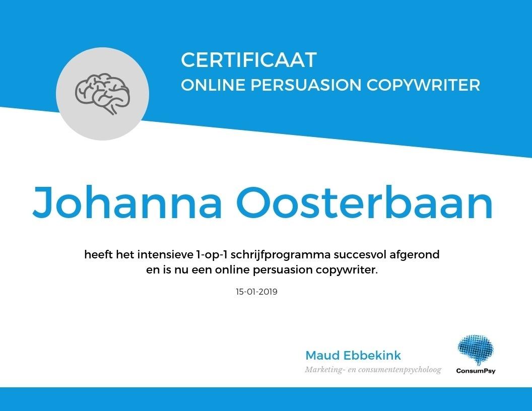Johanna-Oosterbaan-certificaat-online-persuasion-copywriter